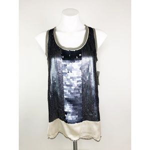 💜Jessica Simpson Gray Sequin Ivory Sheer Tank